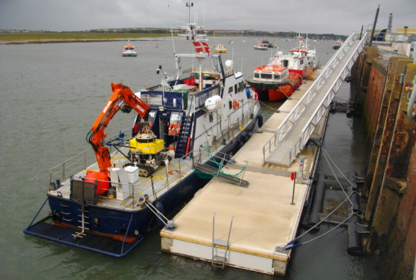 This is one of four 5 metre wide pontoon jetties built for the 11.5 metre tidal range.