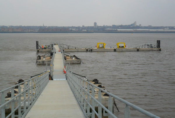 130 metre of brows and pontoon out to a 22 metre and 34 metre berthing pontoon on the River Mersey Birkenhead.