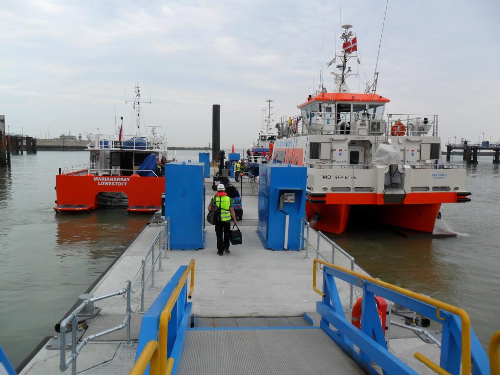 Crew access their boats, London Array, Ramsgate